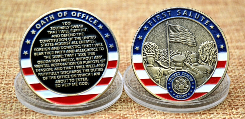 United States Army First Salute Oath of Office Challenge Coins Collectibles