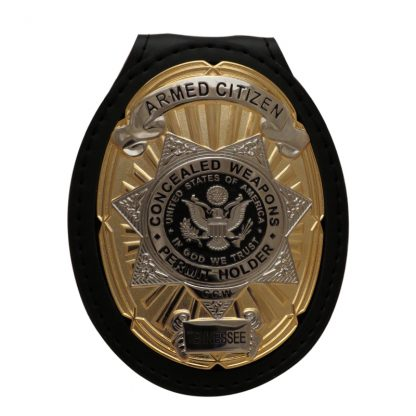 Concealed Weapon Permit Leather Holder Badge Suit ccw