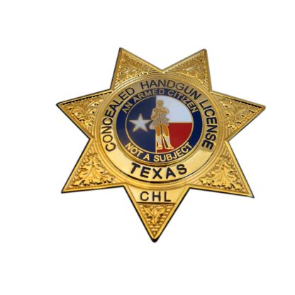 Concealed Handgun License CHL Texas Badge Gold Seven Pointed Stars