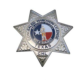 Concealed Handgun License CHL Texas Badge Silver Seven Pointed Stars