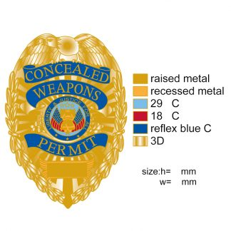 concealed carry weapons permit badge gold