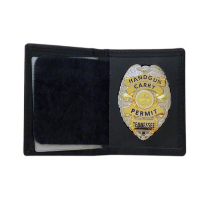 Hangun Carry Permit Tennessee Badge Gold on Silver with Leather Wallet