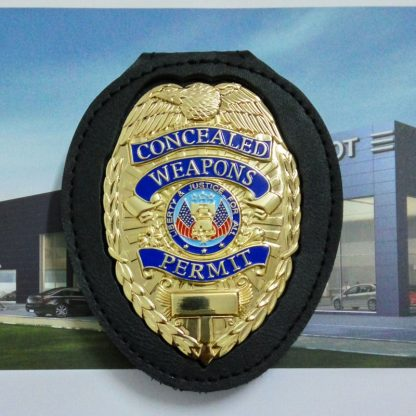 concealed carry weapons permit badge leather holder