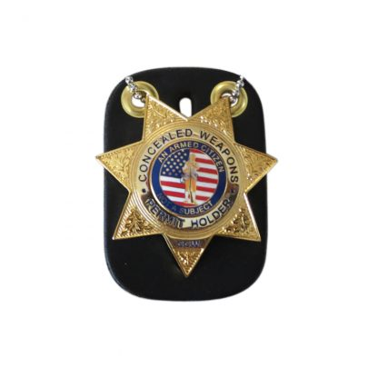 Concealed Weapons Permit Holder CCW Gold Badge with Tag